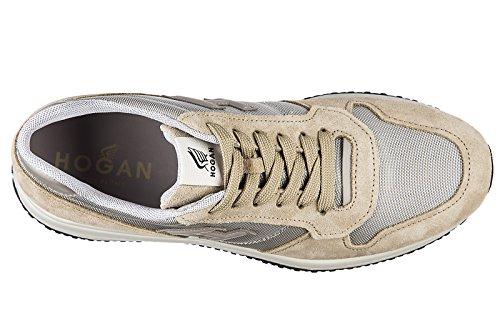 Hogan scarpe sneakers uomo camoscio nuove interactive n20 h 3d beige
