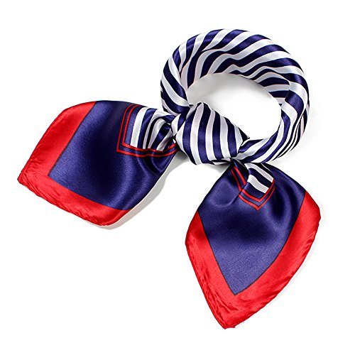 QBSM Womens Red Navy White Striped Sailor Satin Silky Formal Flight Attendant Square Scarf Neckerchief -