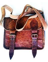 Mens Genuine Leather Small Brown Messenger Passport Bag Ipad Tablet Satchel