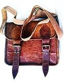 Men's Genuine Leather Small Brown Messenger Passport Bag Ipad Tablet Satchel