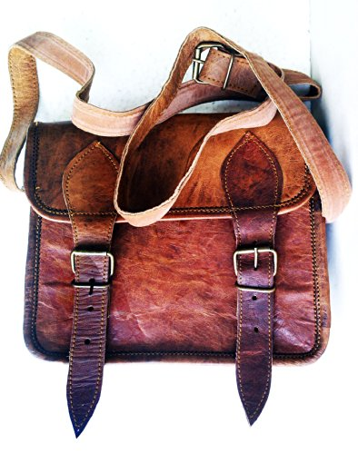 Men's Genuine Leather Small Brown Messenger Passport Bag Ipad Tablet Satchel by jaald