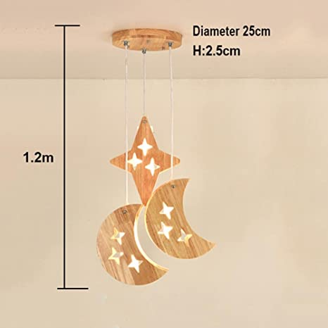 HJXJXJX Lámparas Colgantes LED de Madera Habitación para ...