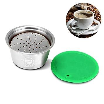 OurLeeme Cápsula recargable de café, Cápsulas Recargables para Dolce Gusto, taza de filtro de café reutilizable de acero inoxidable para Nespresso ...