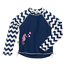 Navy Blue Baby Girl Long Sleeve Rashguard by Sun Smarties, Seahorse, 18 Mo.