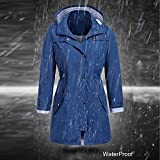 GIFC Fashion Women's Solid Rain Jacket Outdoor Hoodie Waterproof Hooded Raincoat Windproof Blouses Tops T-Shirts