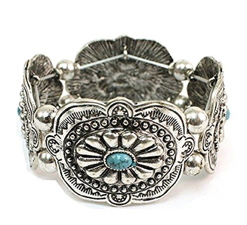 (Treasure Western Hippy Aztec Jewelry Turquoise Concho Stretch Bracelet (Silver tone))