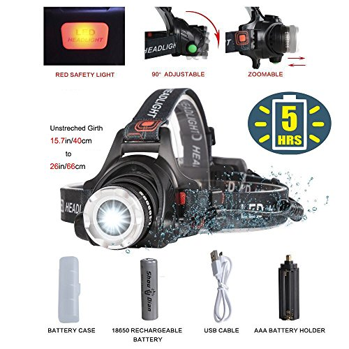 Best Bright LED Headlamp Flashlight,Zoomable 2000-Lumen,4-Mode Helmet Bike Light,Waterproof Fishing Camping Head Lamp,COSOOS Headlight Kit with Rechargeable 18650 Lithiumion Battey,Support AAA (Bike Headlamp)