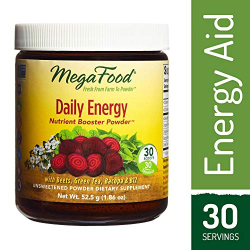 MegaFood – Daily Energy Booster Powder, Promotes Energy, Endurance, Metabolism, and Stress Relief with Vitamin B12 and Ashwagandha, Vegetarian, Gluten-Free, Non-GMO, 30 Servings (1.86 oz) (FFP)