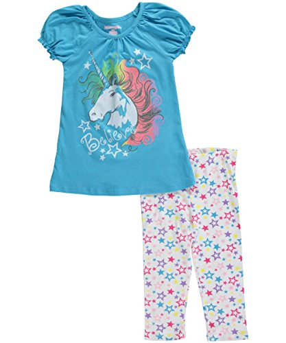 Kidtopia Little Girls' Believe Unicorn with Star Legging Tunic Set, Aqua Wave, 3T