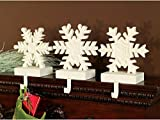 Set of 3 Winter's Blush Off-White Glittered Snowflake Christmas Mantle Stocking Holders 8""