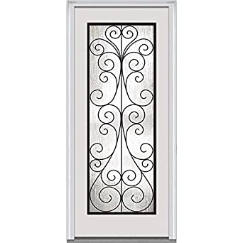 National Door Company Z000479R Prehung Right Hand Inswing Entry Door,  Camelia Decorative Glass, Full