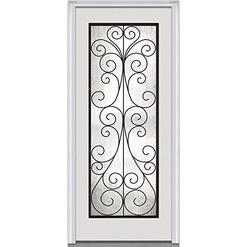 National Door Company Z000681R Prehung Right Hand Inswing Entry Door, Camelia Decorative Glass, Full Lite, Steel, 36