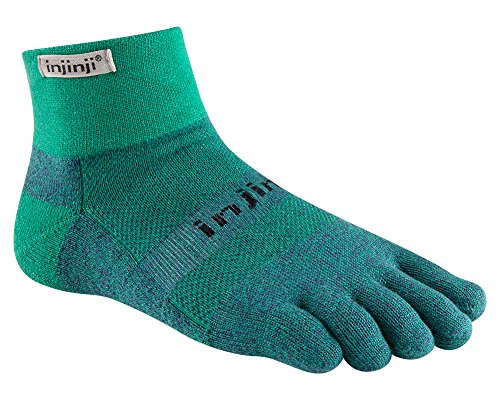Injinji Trail Midweight Mini-Crew Socks (Medium, Emerald) - Coolmax Mini Socks