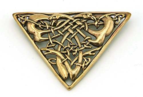 Bronze Celtic brooch Vintage Triangle Shaped Filigree Irish Norse Jewelry from Thailand (Brooch V.2)