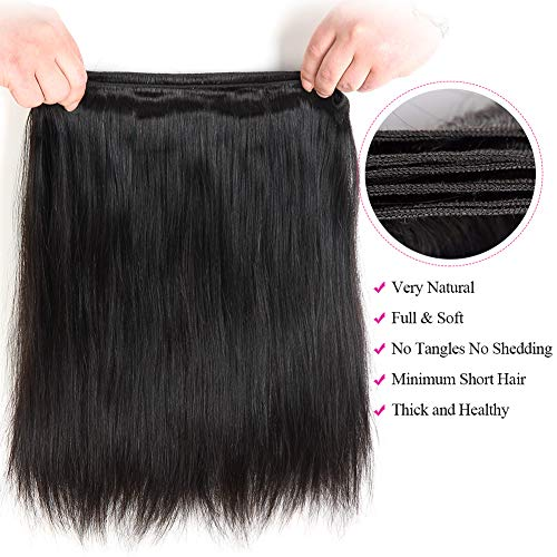 Subella Brazilian Straight Hair 3 Bundles 14 16 18inch Grade 9A Virgin Straight Human Hair Bundles Natural Black Color Hair Weave by Subella (Image #4)