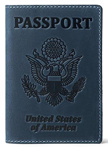 - RFID Blocking US Passport Holder Cover Travel Wallet Organizer Case With Card Slots (Light Blue Vintage)