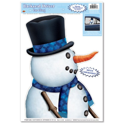 [Snowman Backseat Driver Car Cling Party Accessory (1 count) (1/Sh)] (Driver Seat Halloween Costume)