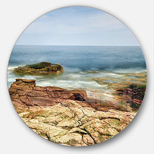 (Designart Thunder Hole Acadia National Park Beach Circle Wall Art Disc of 11 inch 11'' H x 11'' W x 1'' D 1P Blue)