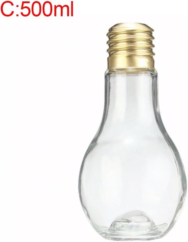 Botella con diseño de bombilla para bebidas como zumos, agua y leche