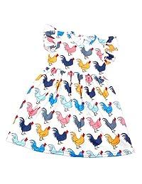 Qliyang Little Girl Summer Dress Kids Chicken Print Short-Sleeved Dress