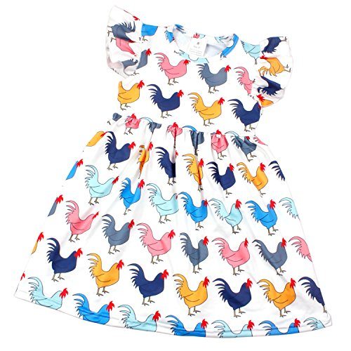 Yliyang Baby Girls Summer Boutique Clothes Chicken Print Dress Short Sets 12-18M Red-Blue -
