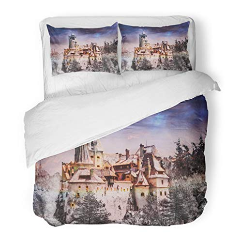 Emvency Bedding Duvet Cover Set Twin (1 Duvet Cover + 1 Pillowcase) Bran Dracula Castle of Transylvania in Brasov Region Halloween Edit Romania Europe Hotel Quality Wrinkle and Stain Resistant