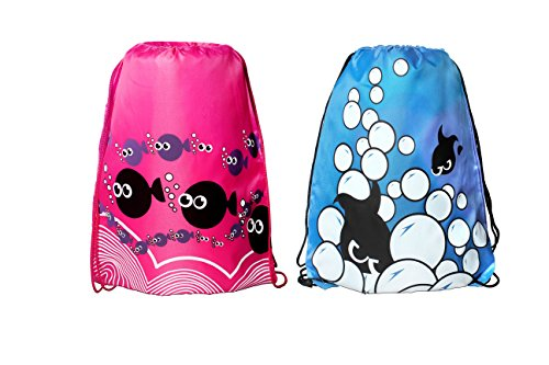Aprince Drawstring Cute Fish Pouches Case String Backpack School Sport Gym Tote Bag
