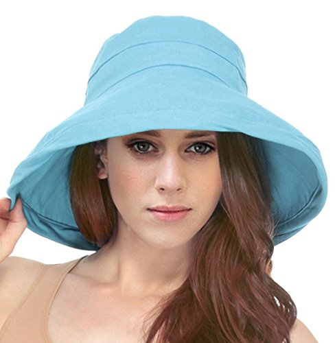 Simplicity Summer Solid Cotton Bucket Hat with Big Fold-Up Brim, Sky Blue ()