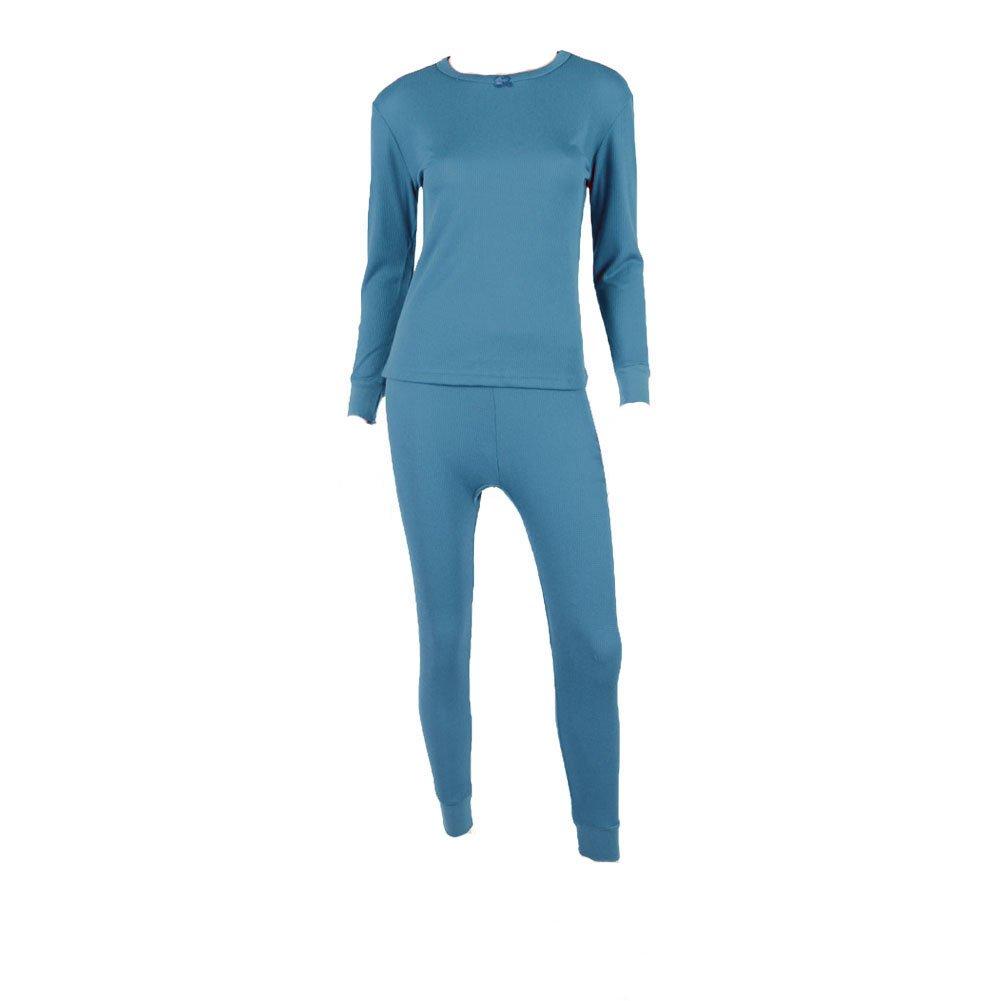 WuHou Women's 100% Cotton Thermal Underwear Two Piece Long Hons Set-2XL-Blue