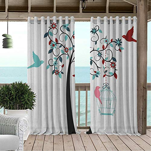 Linhomedecor Patio Waterproof Curtain Birdcage Tree Flowering Swirl Branches Colorful Bird Silhouettes Feminine Style Design Multicolor Porch Grommet Panel Curtains 72 by 96 inch
