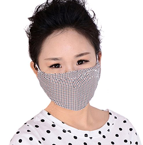 Pollen Dust Mask Washable Anti-fog Anti Dust Face Mouth Warm Mask Antibacterial Activated Carbon Filter Earloop Mouth Mask Face Mask (Coffee lattice) (Coffee Lattice)