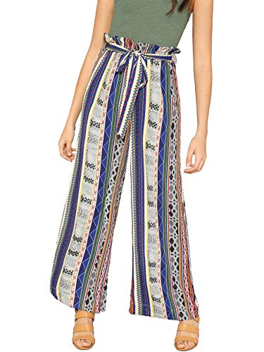 (Floerns Women's Frilled Waist Striped Print Palazzo Pants Multicolor L)