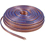 Car Home Audio Speaker Wire Transparent Clear Cable 14AWG 14/2 Gauge (50 feet)