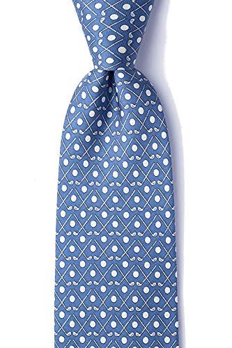 Men's 100% Silk Crossed Golf Clubs & Balls Golfer Golfing Novelty Necktie Tie (Light Blue)
