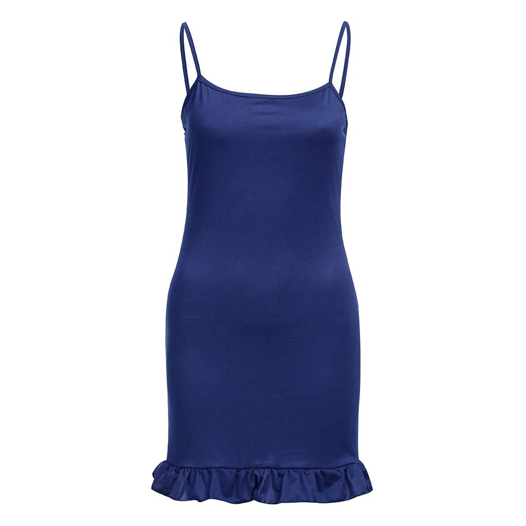 2019 Women Sleeveless Spaghetti Shoulder Strap Skinny Slim Evening Party Mini Dress YAliDA Skirt