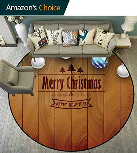 Christmas Round Carpet Modern,Wooden Setting with Silver Balls Fairy Tale Setting and Pine Tree Twigs Wishes Theme Waterproof and Easy Clean,Brown,D-79]()