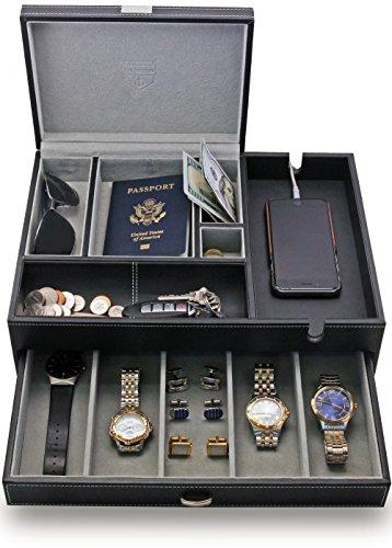 Amazoncom HoundsBay Big Dresser Valet Box Mens Jewelry Box
