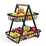 2-Tier Countertop Fruit Basket Fruit Bowl Bread