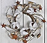 JMB Autumn-Christmas Cotton Ball, Leaves, Pip Berries, and Metal Stars Buyers' Choice of Garland OR Candle Ring (8'' Wreath or Candle Ring)