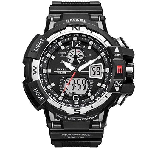 KXAITO Men's Digital Sports Watch Waterproof Watch Outdoor Electronic LED Backlight Alarm Stopwatch ()