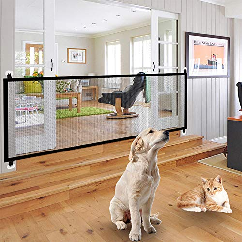 Aoile Portable Folding Safety Magic Gate Guard Mesh Safe Fence Net for Pets Dog Puppy Cat ()