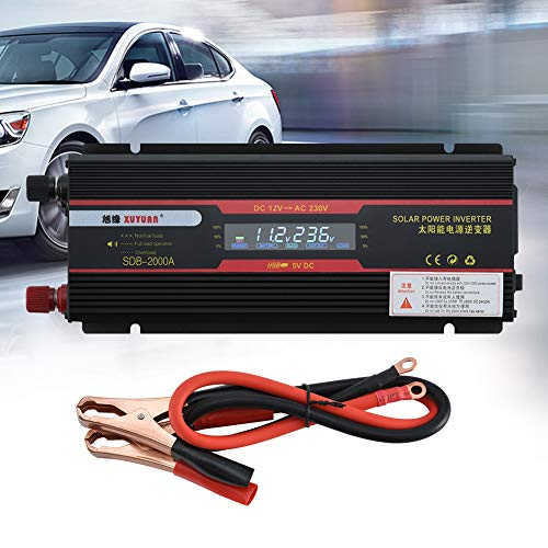 Serveyou 6000W Solar Power Inverter for Cars,Trucks. LCD Display USB Modified Pure Sine Wave Power Inverter, Solar Power Inverter, DC 12V to AC 230V, Widely Compatible (12V-220V) ()