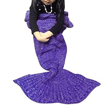 XY ZONE Knit Fish Tail Sofa Air Conditioning Blanket Sleeping Bag Child Deep Purple