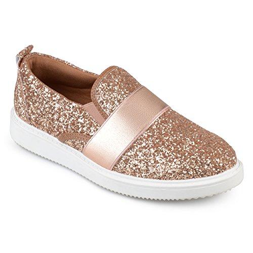 Collezione Journee Womens Glitter Slip-on Sneakers In Oro Rosa