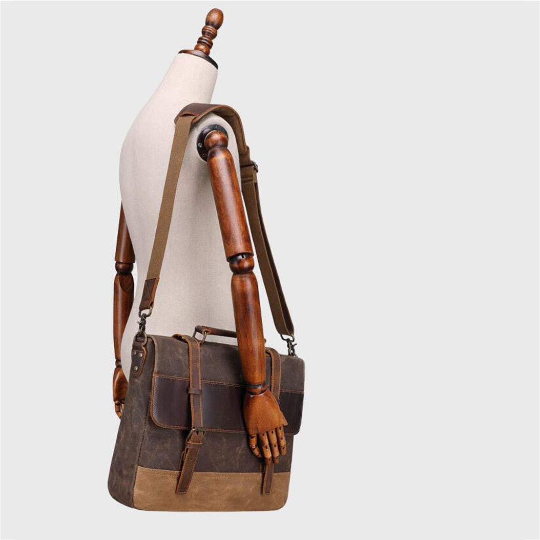 Xinyuan Mens Shoulder Bag 15.6 Inch Oil Wax Canvas Bag Male Crazy Horse Leather Briefcase Retro Mens Bag Messenger Bag Brown Army Green Coral Cyan Dark Gray Color : A