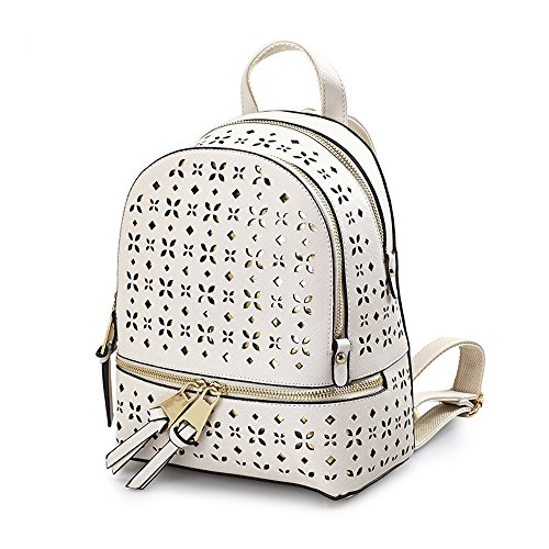 Mochila femenina para mujer Hollow Shoulder Bag Versión Coreana Femenina De La Marea 2017 Nueva Pu Impermeable Moda Salvaje Wild College Wind Backpack (Small) (Blanco)