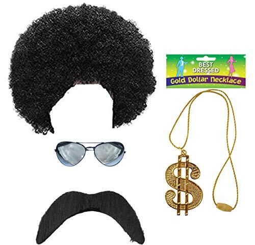 Rimi Hanger 1980s Black Scouser Wig Tash Dollar Necklace Glasses 4 Pcs Set 80s Accessory Set One Size ()