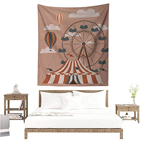 Wall Art Tapestry Circus Ferris Wheel Flying Hot Air Balloons Sky Clouds Fun Holiday Themed Illustration 40W x 60L INCH Suitable for Bedroom Living Room Dormitory