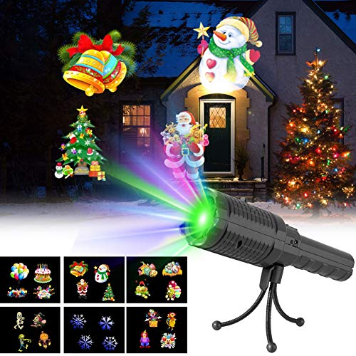 Christmas Handheld LED Flashlight Projector,Onewell 2-in-1 Portable Rechargeable Battery Operated Projection Light with 6 Pattern Slides for Decoration, Xmas, Easter, Birthday and Home -