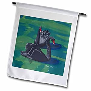 CherylsArt Wild Animals Bird - Two Black Swans On the Water Painting - 12 x 18 inch Garden Flag (fl_54982_1)